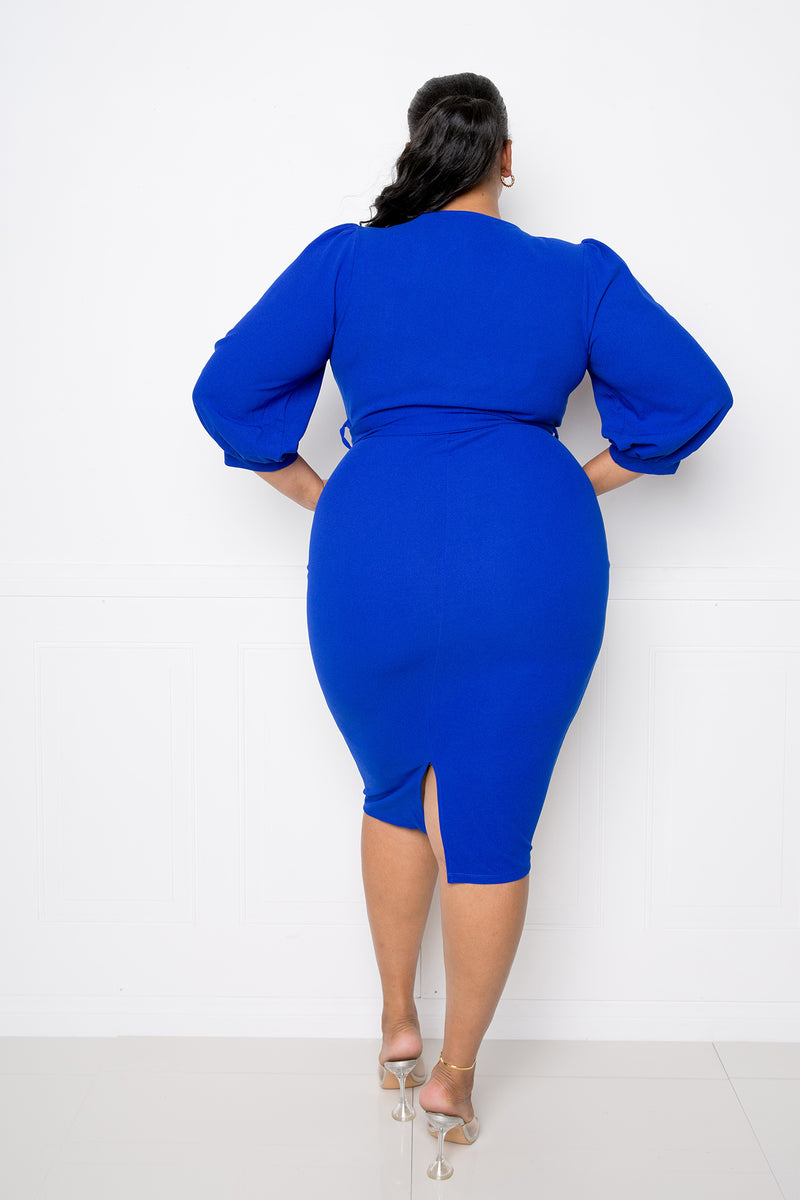 buxom couture curvy women plus size everyday wrap midi dress royal blue