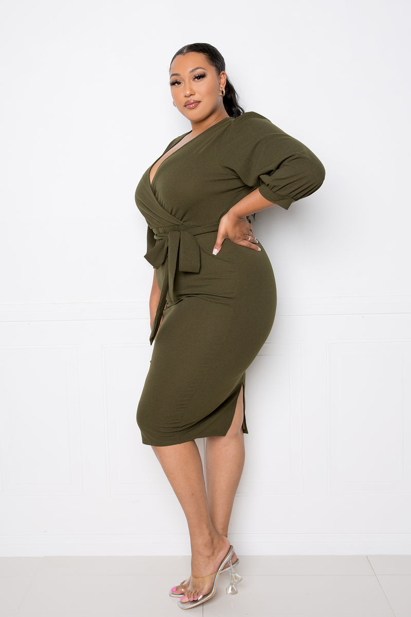buxom couture curvy women plus size everyday wrap midi dress olive green