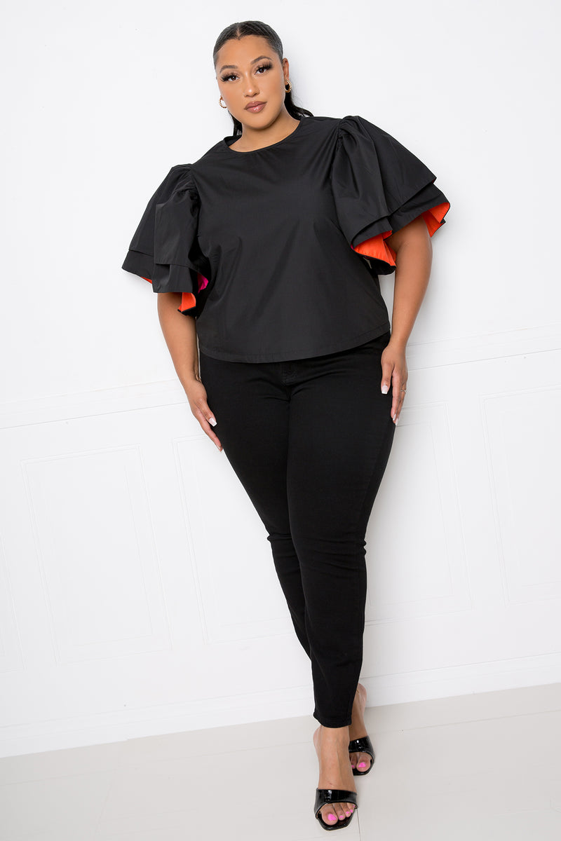 buxom couture curvy women plus size peekaboo voluminous sleeves poplin top