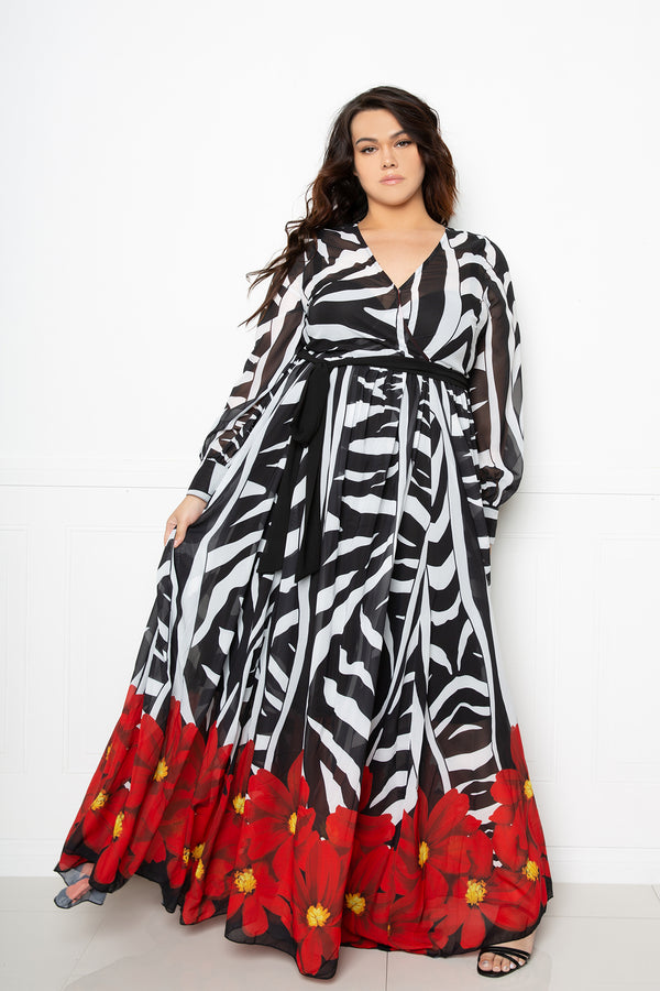 buxom couture curvy women plus size zebra floral surplice maxi dress