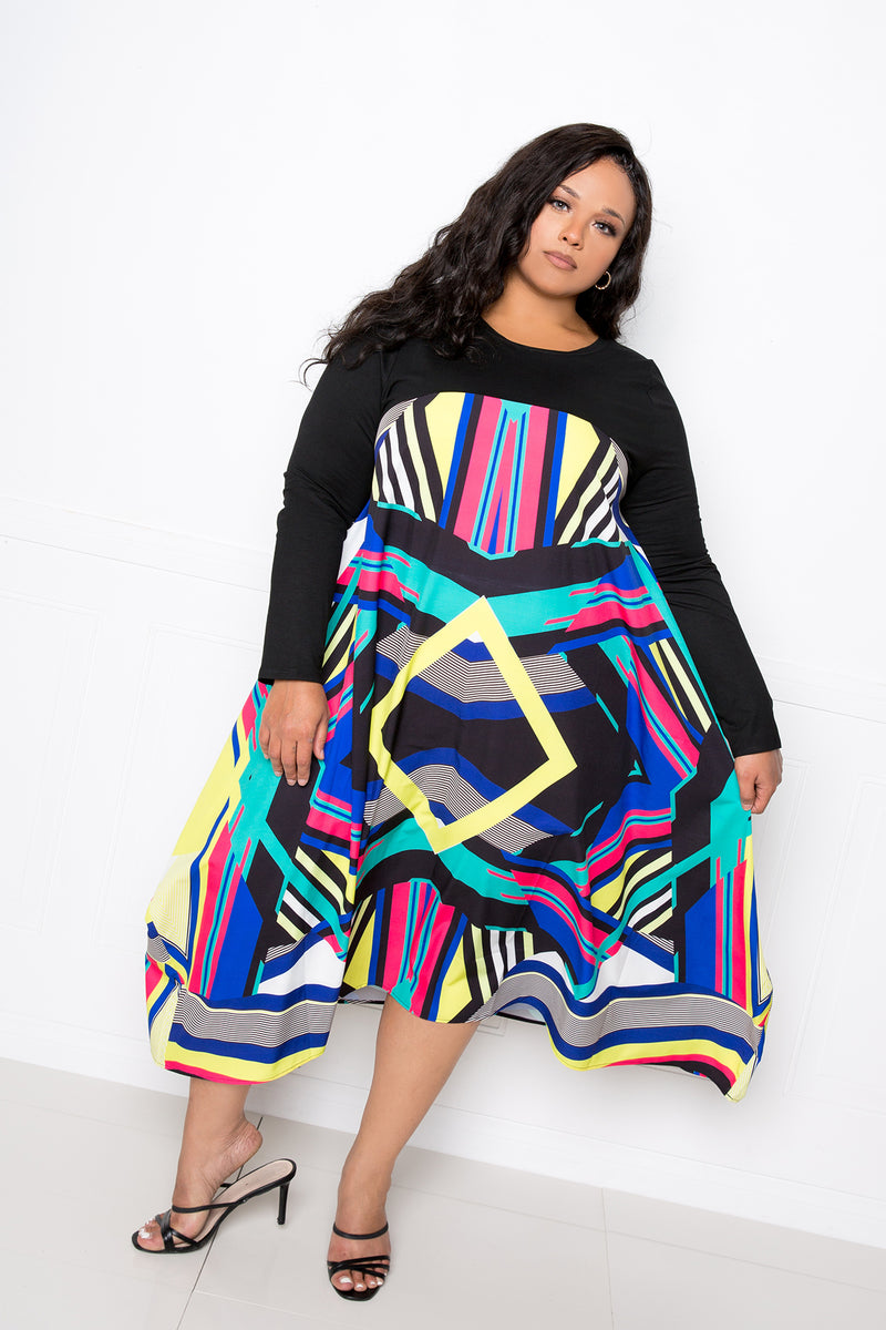 buxom couture curvy women plus size print t-shirt dress black