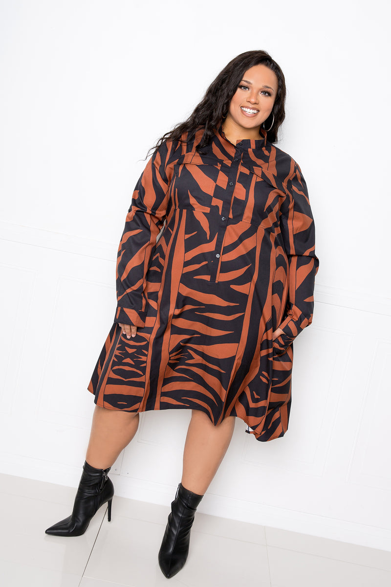 buxom couture curvy women plus size animal print shirt dress zebra brown mocha