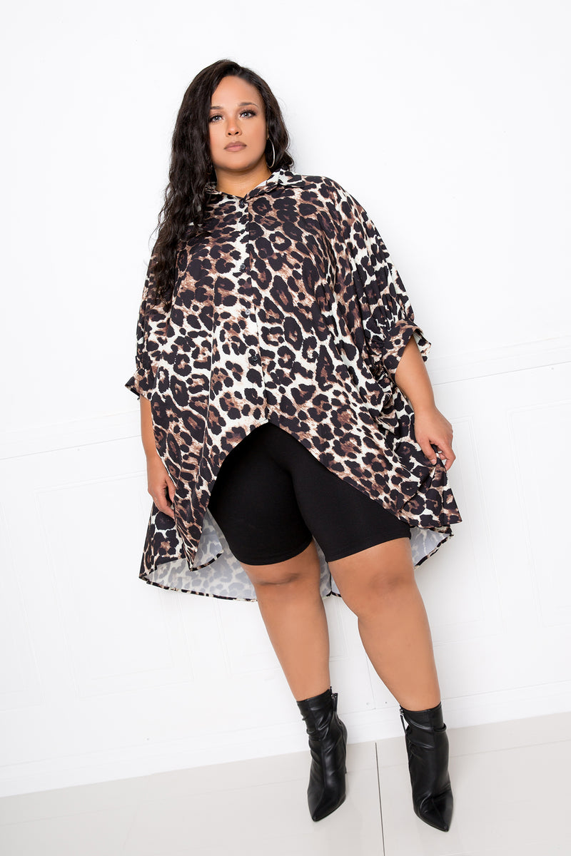 buxom couture curvy women plus size oversized hi lo wing sleeve blouse brown leopard