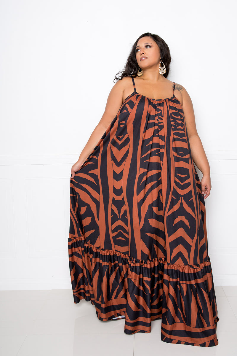 buxom couture curvy women plus size print voluminous maxi dress brown zebra