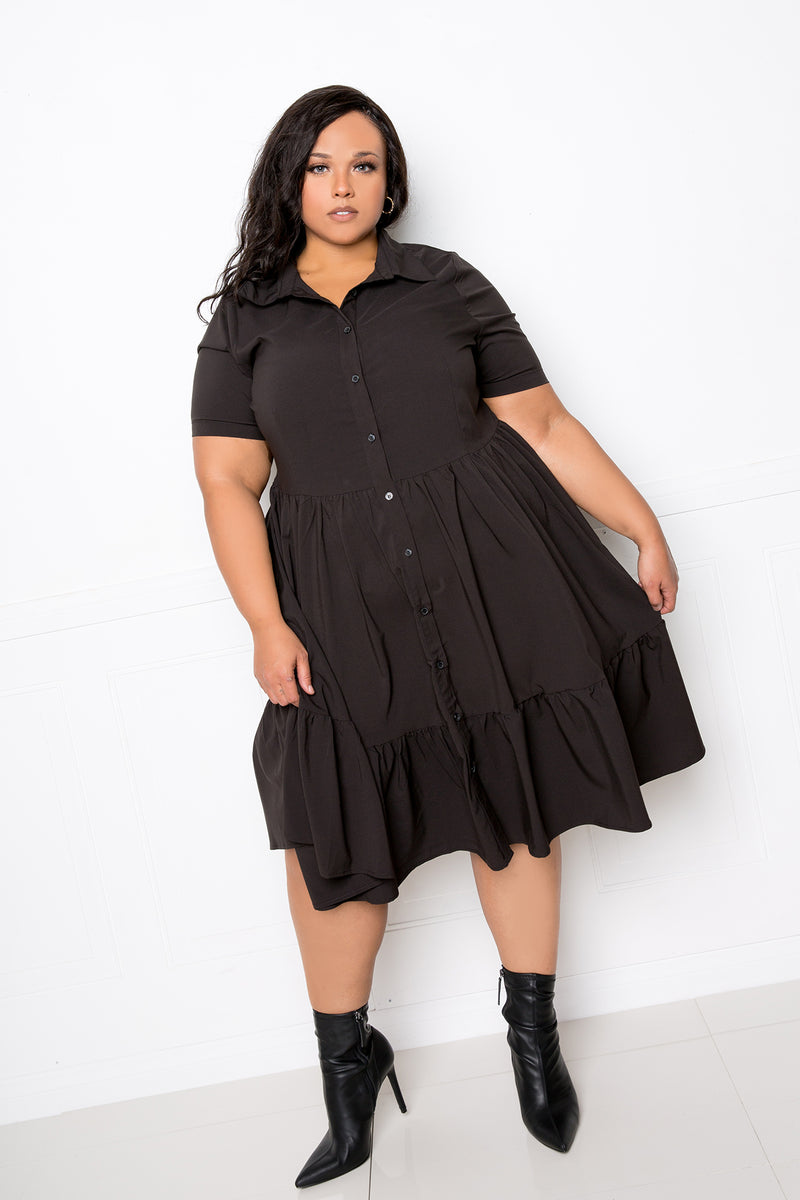 buxom couture curvy women plus size tiered shirt mini dress black