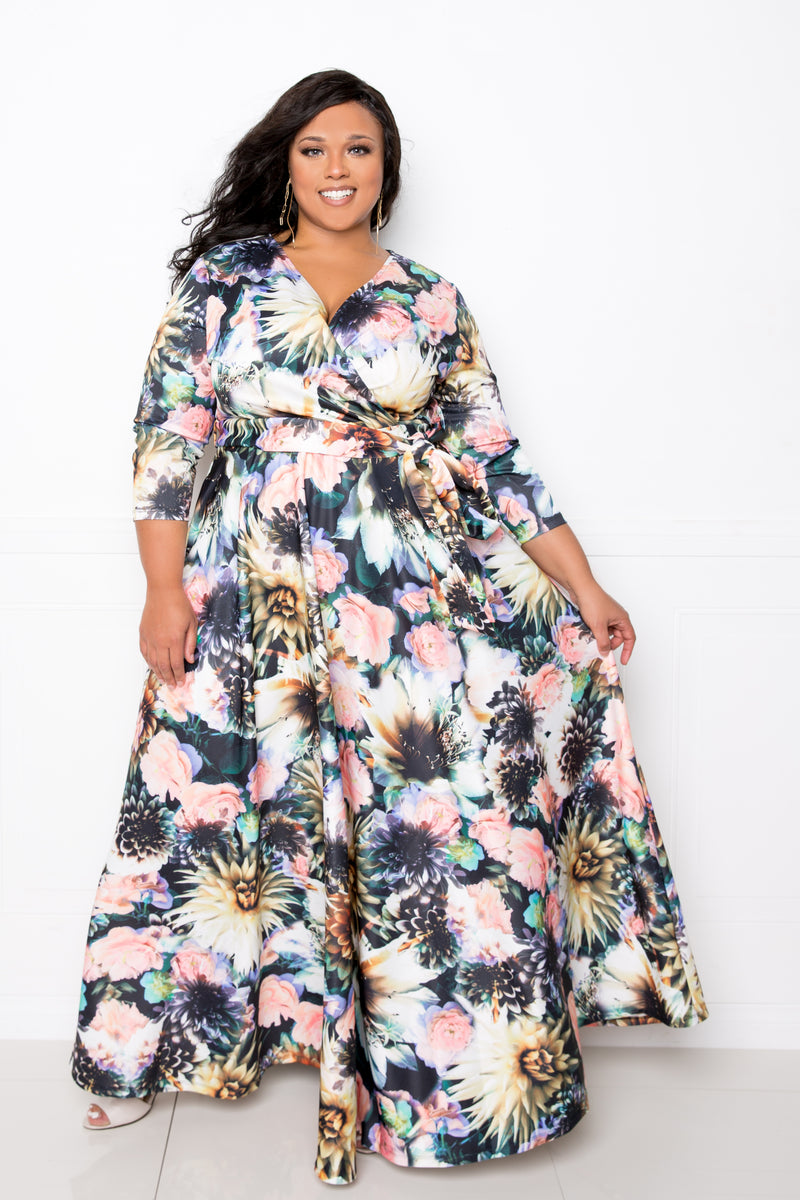 buxom couture curvy women plus size floral surplice scuba maxi dress black