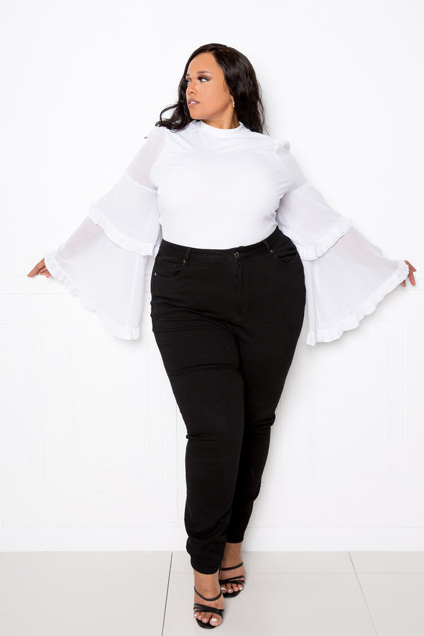 buxom couture curvy women plus size tiered bee sleeve top white