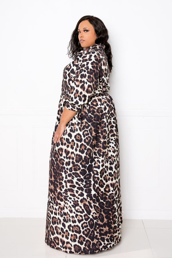 buxom couture curvy women plus size animal printed shirt maxi dress leopard brown
