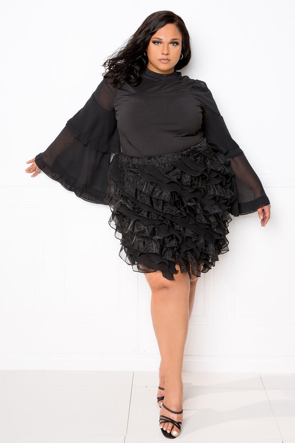 buxom couture curvy women plus size tiered bell sleeve top black