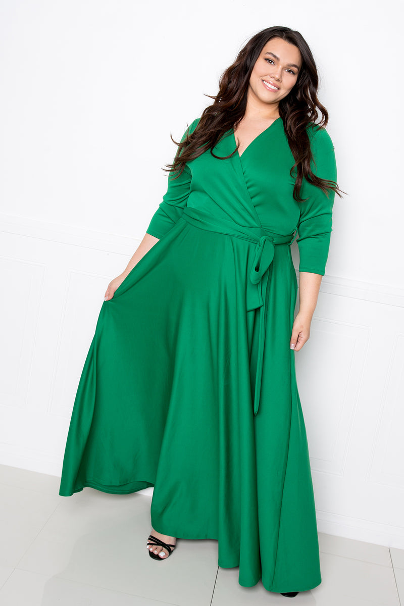 buxom couture curvy women plus size surplice scuba maxi dress green
