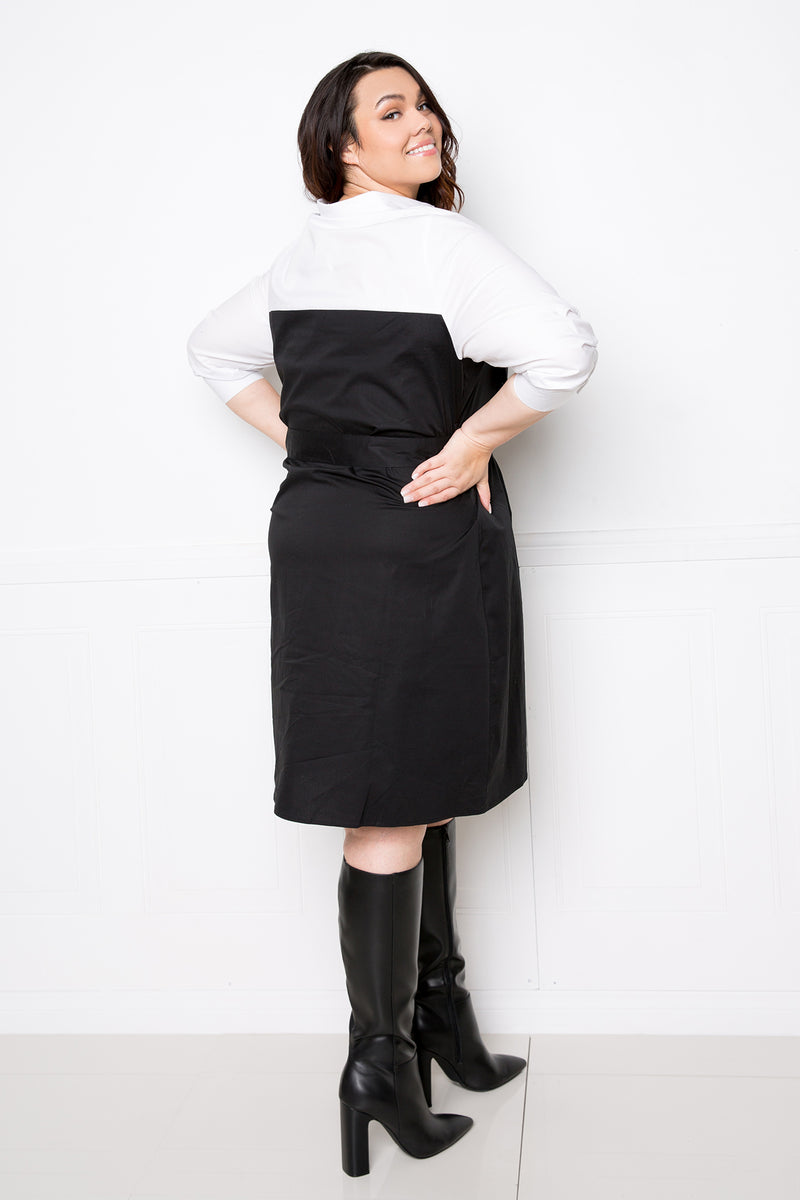 buxom couture curvy women plus size contrast utility shirt dress with belt black and white