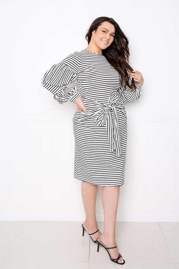 buxom couture curvy women plus size striped puff sleeved dress with waist tie detail black