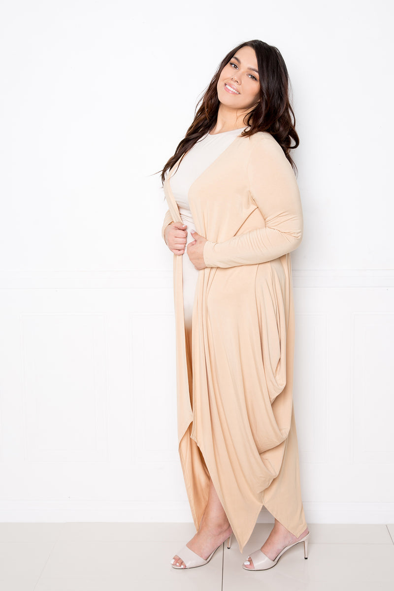 buxom couture curvy women plus size premium quality modal supersoft flowy open cardigan with bubbled hem