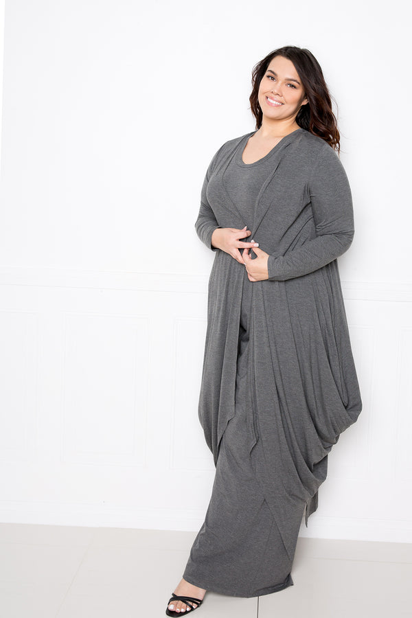 buxom couture curvy women plus size premium quality flowy cardigan with bubbled hem charcoal grey