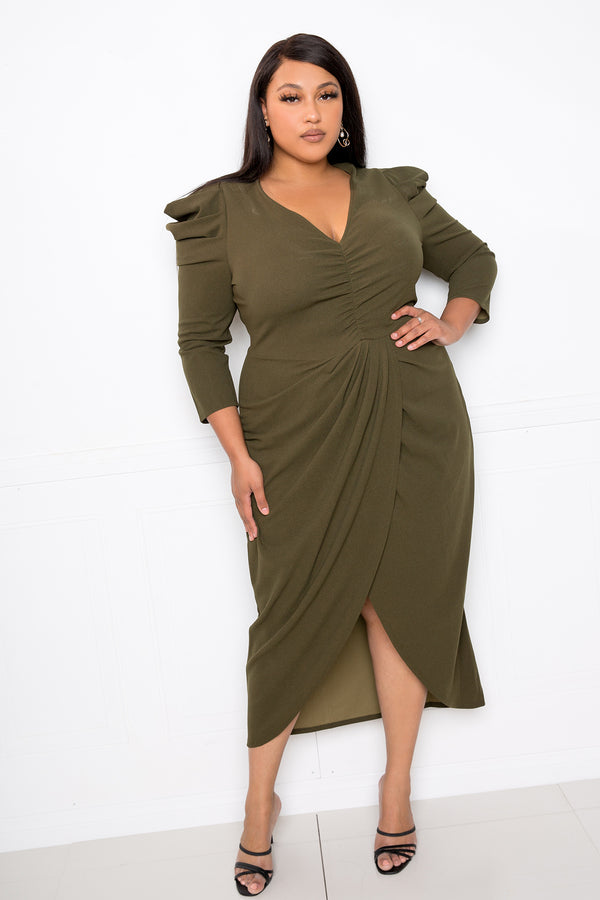 buxom couture curvy women plus size wrapped dress with shoulder accent olive green