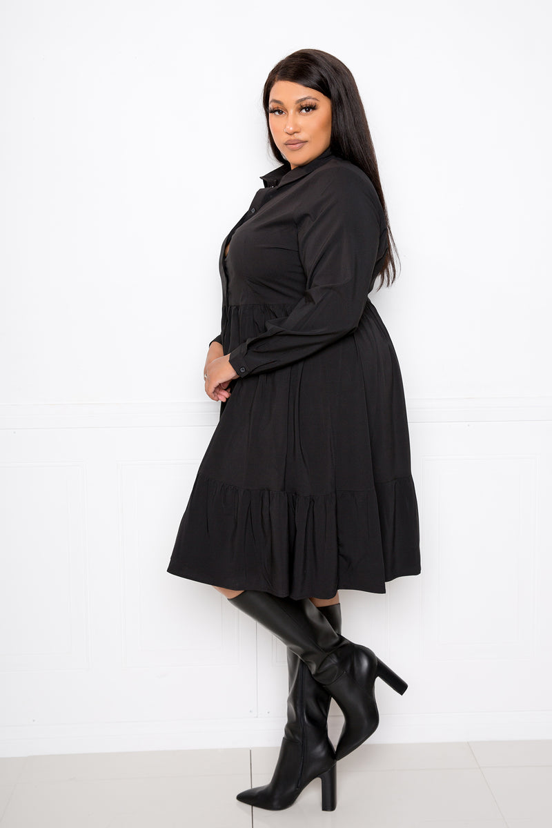 buxom couture curvy women plus size long sleeve tiered shirt dress black