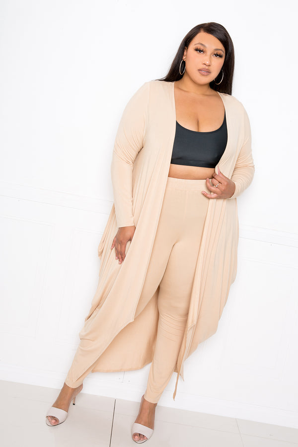 buxom couture curvy women plus size supersoft lounge set leggings cardigan premium modal tan beige taupe nude