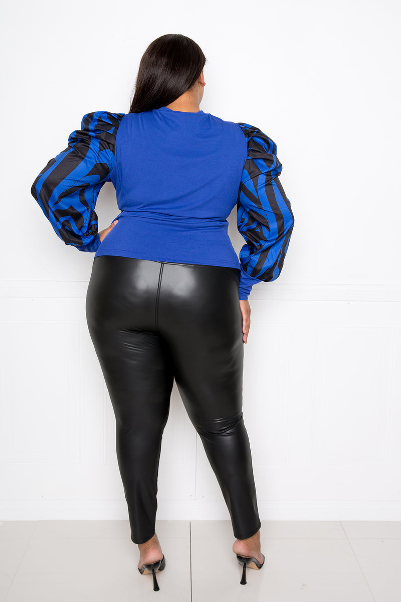 buxom couture curvy women plus size ribbed top with animal print sleeves royal blue