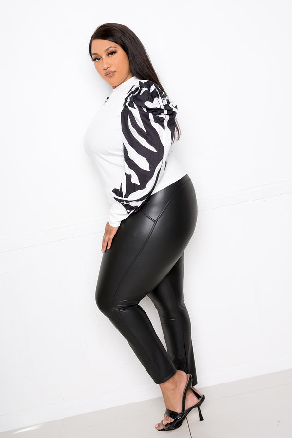 buxom couture curvy women plus size ribbed top with animal print sleeves white black zebra