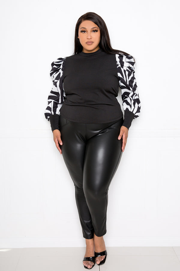 buxomx couture curvy women plus size ribbed top with animal print sleeves black white zebra