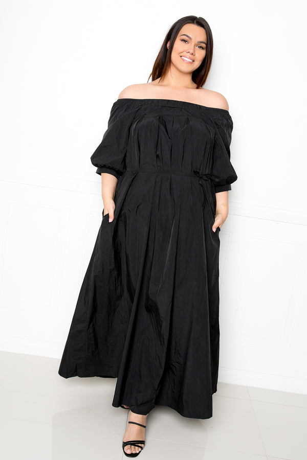 buxom couture curvy women plus size lightweight off shoulder maxi dress nylon black