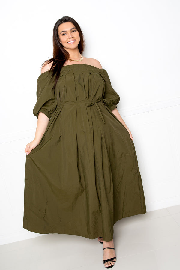 buxom couture curvy women plus size lightweight off shoulder maxi dress olive green