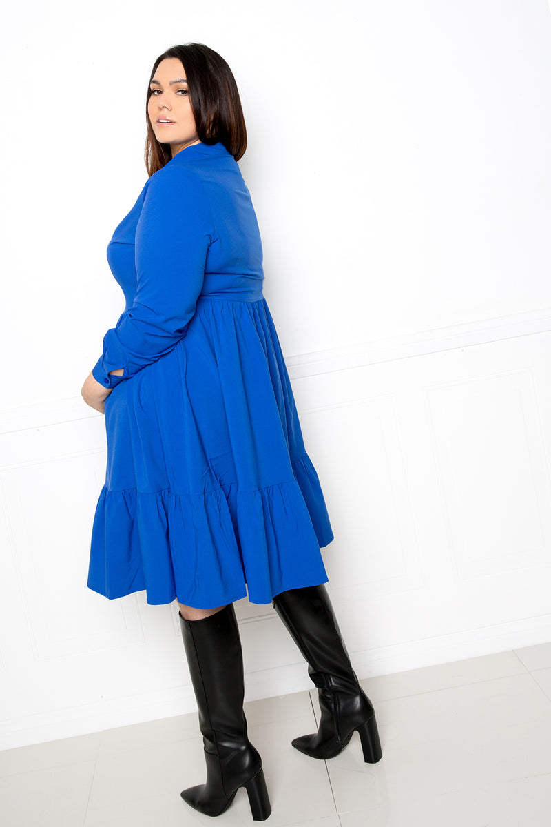 buxom couture curvy women plus size long sleeve tiered shirt dress royal blue