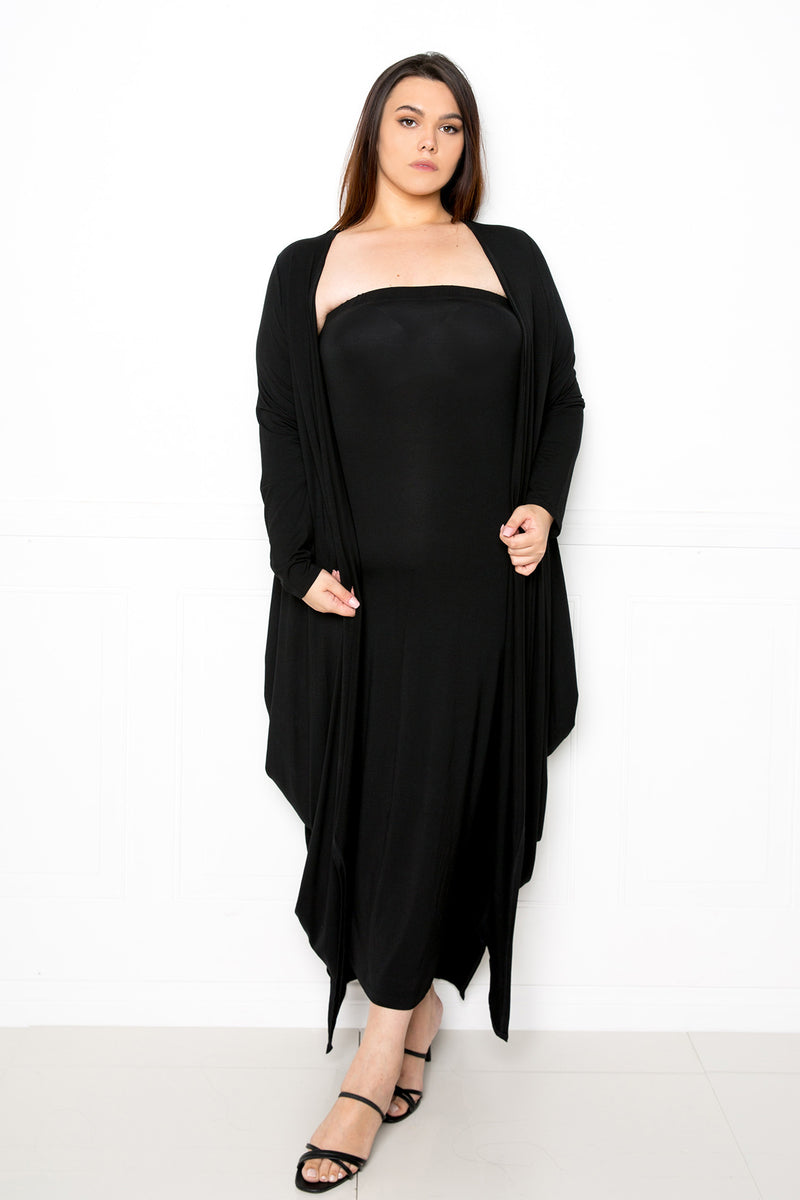 buxom couture curvy women plus size tube dress cardigan matching set supersoft premium modal black