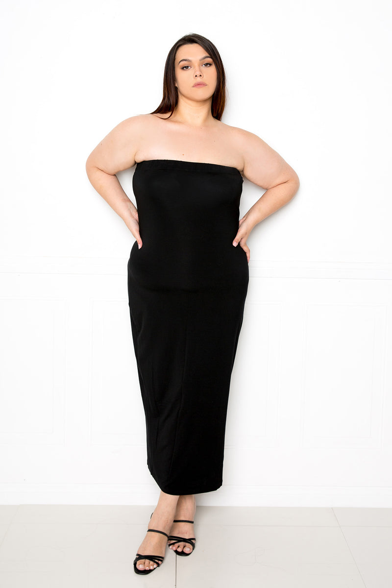 buxom couture curvy women plus size supersoft premium modal material tube midi dress black