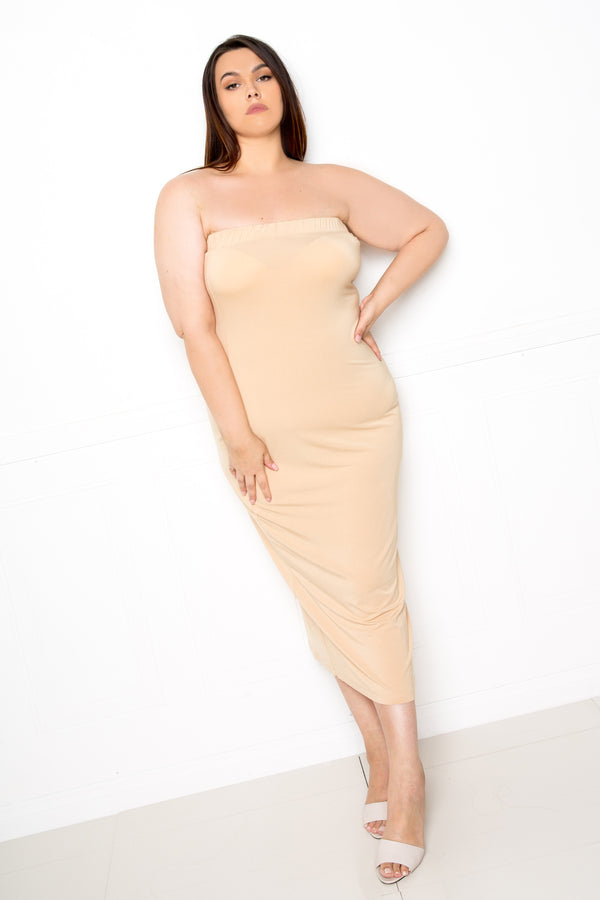 buxom couture curvy women plus size supersoft tube midi dress premium modal tan beige taupe nude