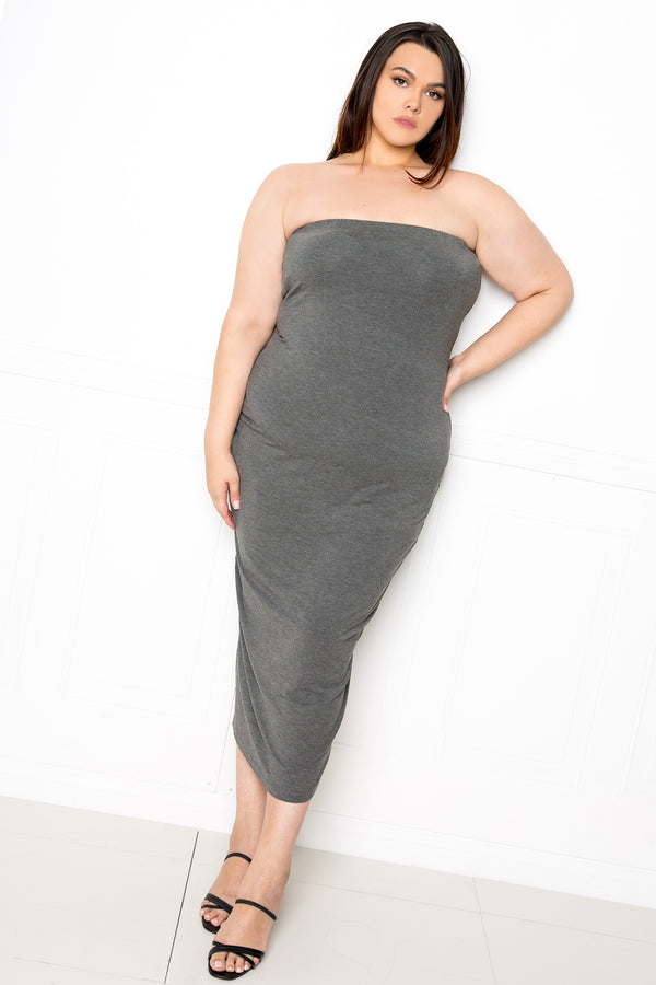 buxom couture curvy women plus size supersoft tube midi dress premium modal charcoal grey