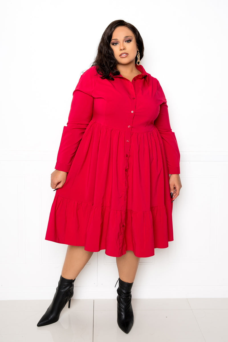 buxom couture curvy women plus size long sleeve shirt dress with tiered hem red wine