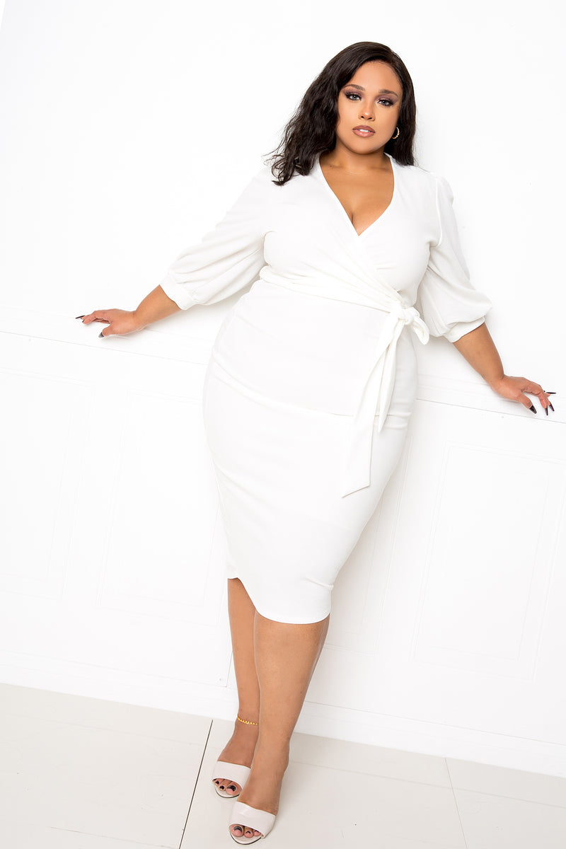 buxom couture curvy women plus size everyday wrap midi dress white