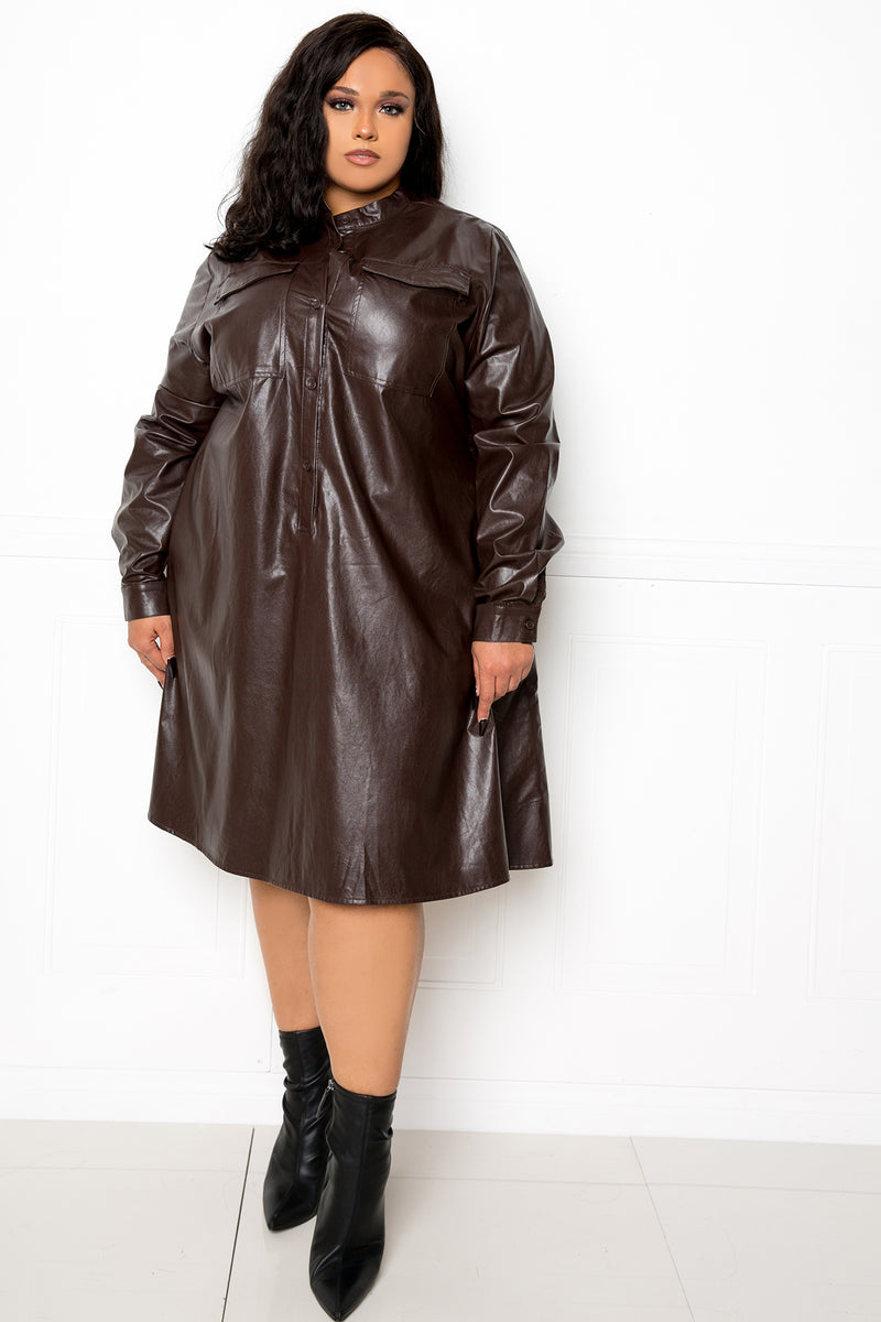 buxom couture curvy women plus size faux leather shirt dress dark chocolate brown