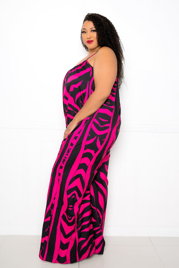buxom couture curvy women plus size animal print jumpsuit hot pink