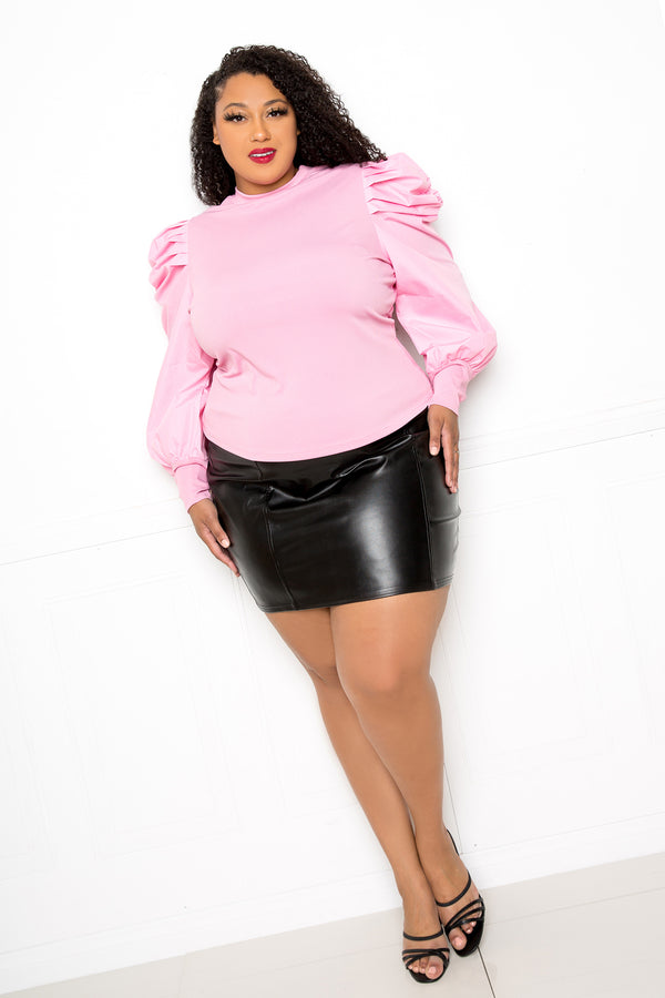 buxom couture curvy women plus size ribbed top with ruched sleeves blush pink