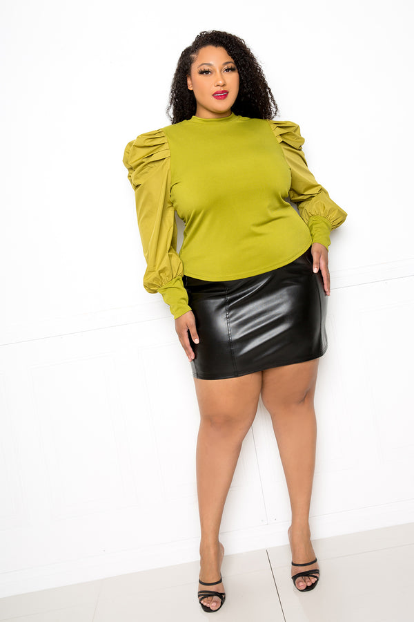 buxom couture curvy women plus size ribbed top with ruched sleeves sage green lime