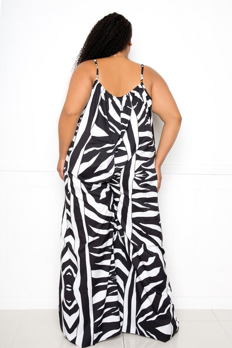 buxom couture curvy women plus size animal print jumpsuit black and white