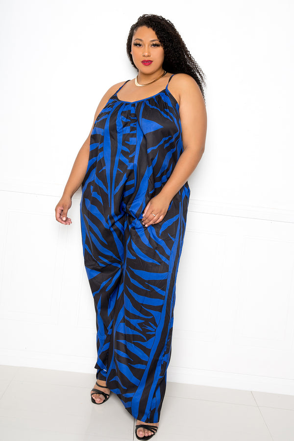 buxom couture curvy women plus size animal print jumpsuit royal blue