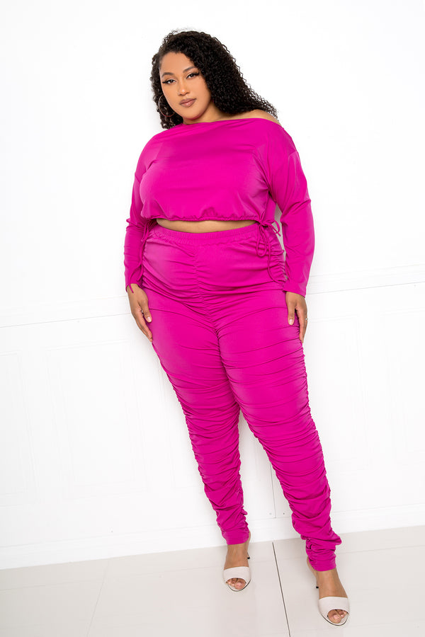 buxom couture curvy women plus size ruched lounge set magenta pink