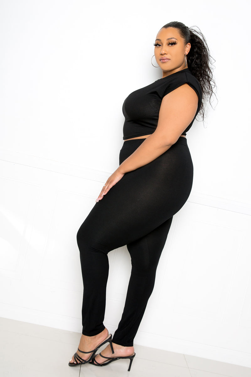 buxom couture curvy women plus size supersoft everyday leggings black