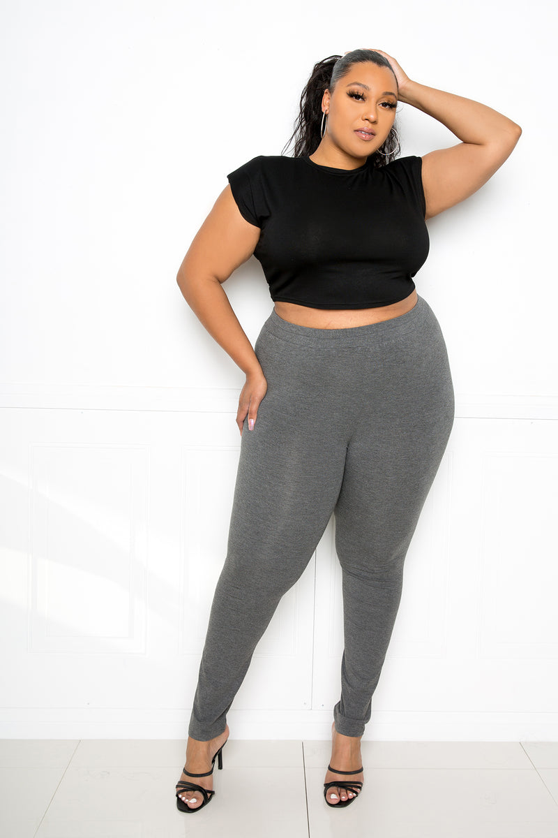buxom couture curvy women plus size supersoft premium quality leggings charcoal grey