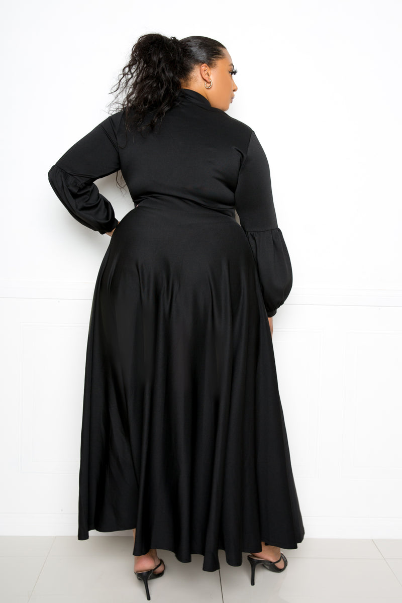 Bbuxom couture curvy women plus size tie neck maxi dress scuba black