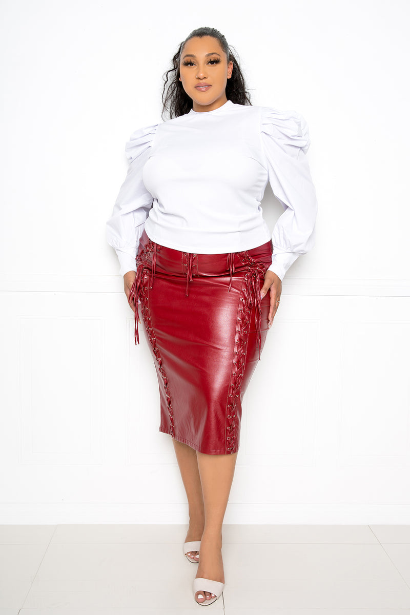 buxom couture curvy women plus size ribbed top with ruched sleeves white