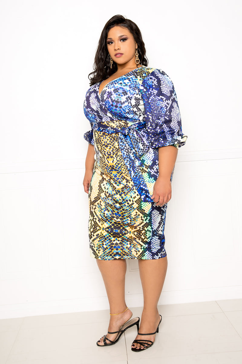 buxom couture curvy women plus size snake print blue yellow wrapped midi dress