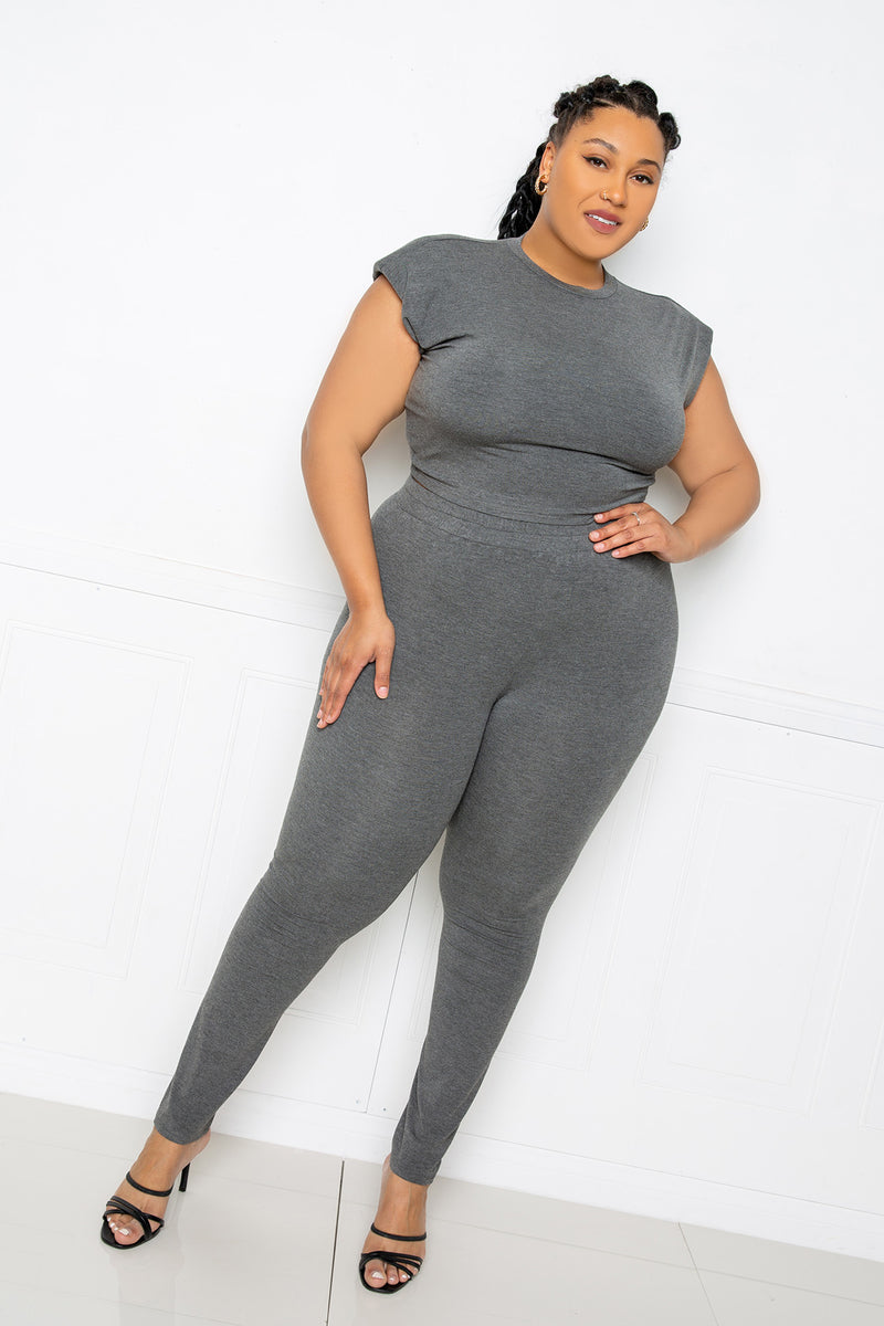 buxom couture curvy women plus size supersoft everyday lounge set charcoal grey cropped top leggings