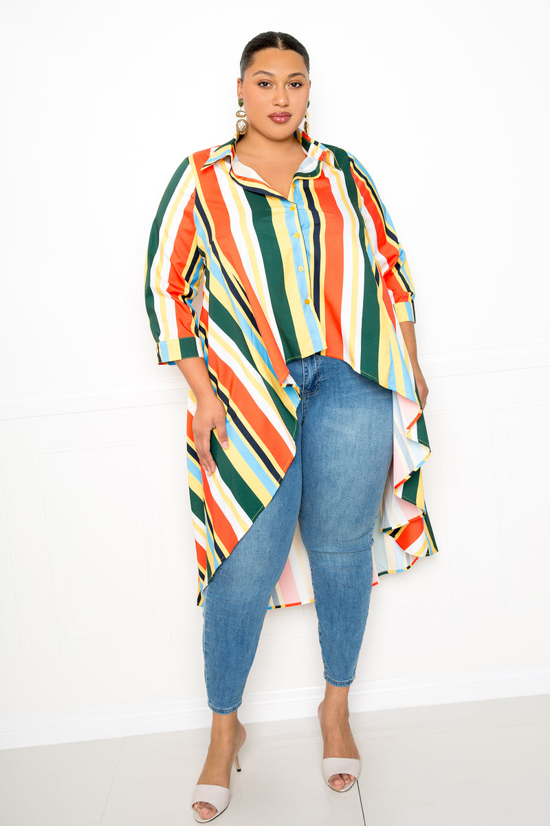 buxom couture curvy women plus size strip flowy hi lo shirt