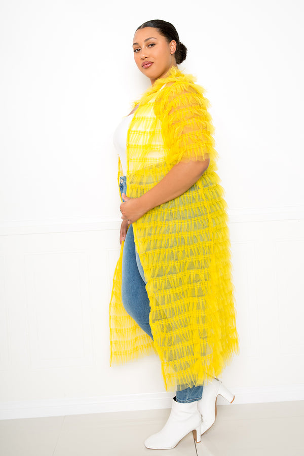 buxom couture curvy women plus size ruffled tulle coat yellow