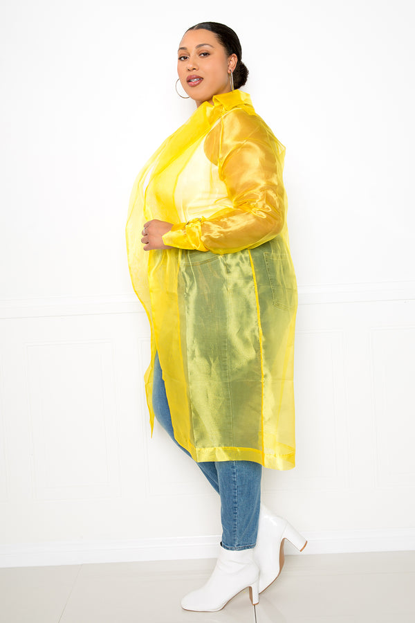 buxom couture curvy women plus size organza tie waist coat jacket yellow