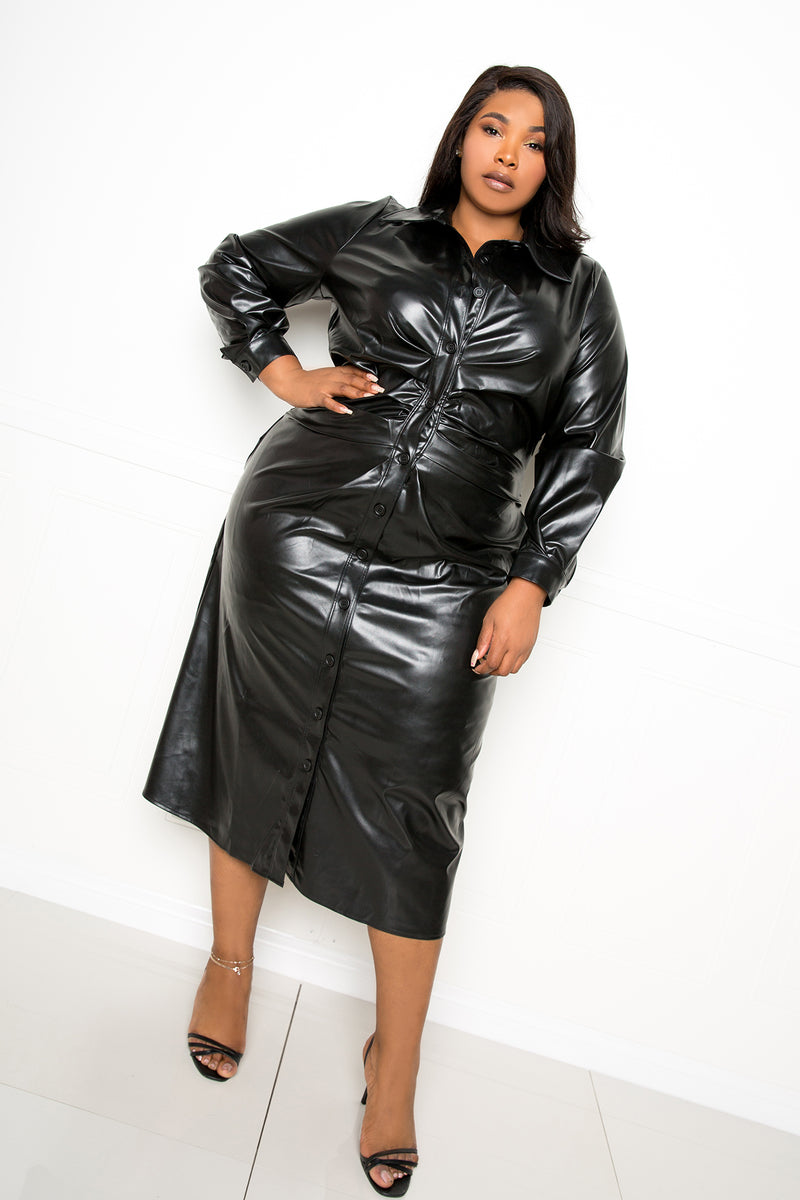 buxom couture curvy women plus size faux leather ruched shirt dress black